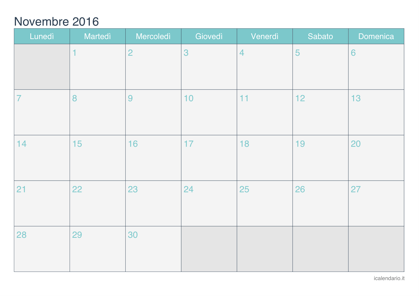 calendario novembre 2016 da stampare - icalendario.it