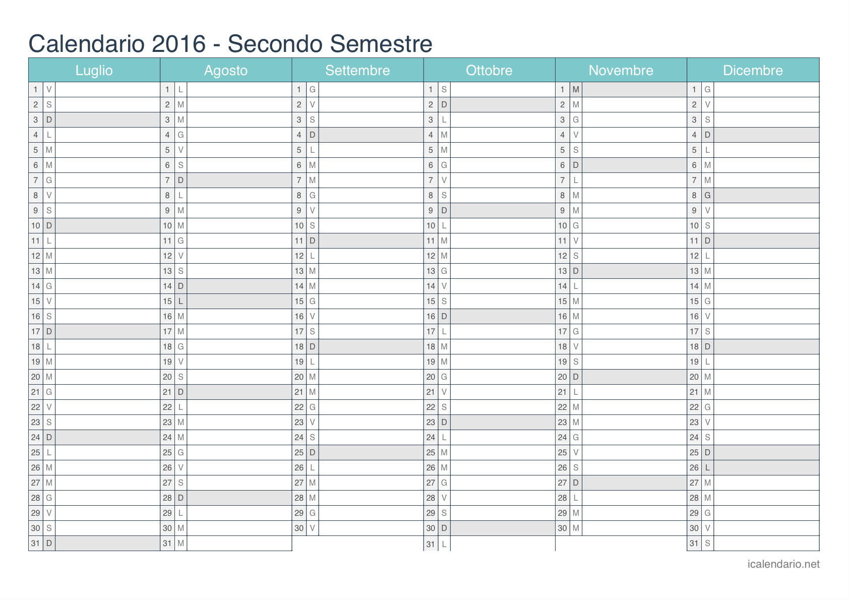 Calendario Anno 2016 Da Stampare.Calendario 2016 Da Stampare Icalendario It
