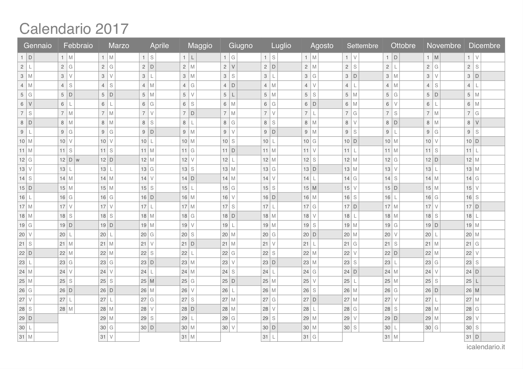 Assez Calendario 2017 da stampare - iCalendario.it TY13