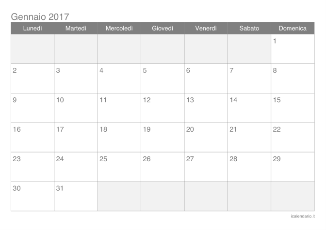 Exceptionnel Calendario 2017 da stampare - iCalendario.it OB84