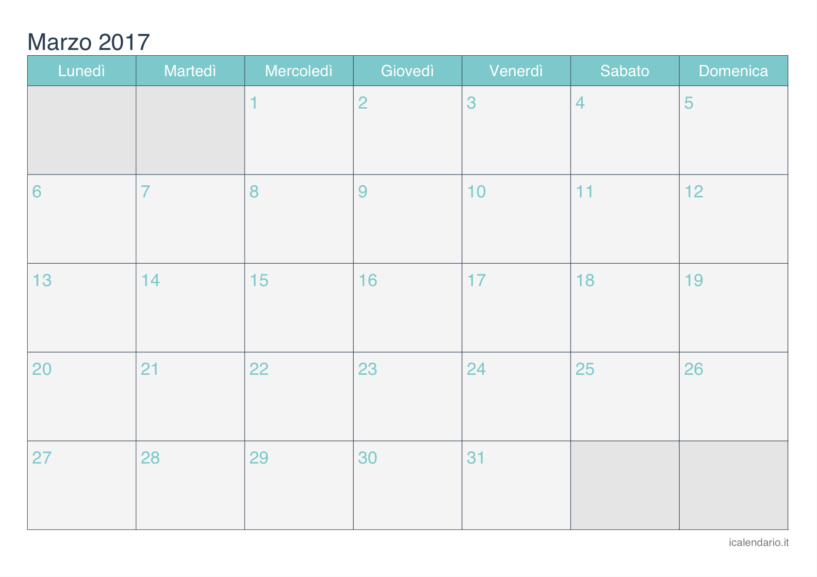 Amato Calendario marzo 2017 da stampare - iCalendario.it RB45