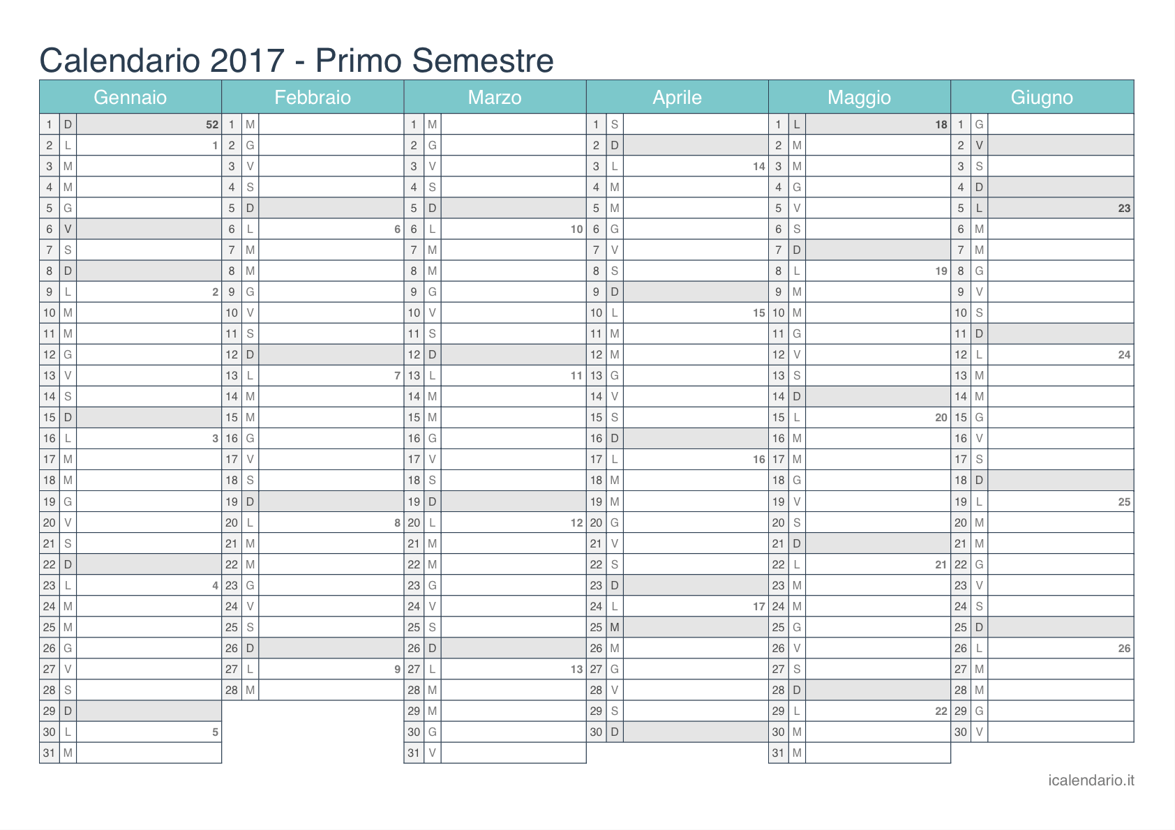 Preferenza Calendario 2017 da stampare - iCalendario.it ZN06