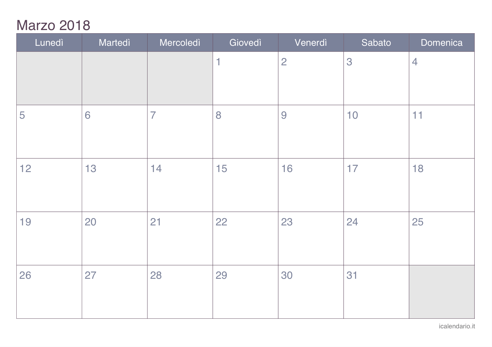 Calendario Marzo 2018 Con Festivita.Calendario Marzo 2018 Da Stampare Icalendario It