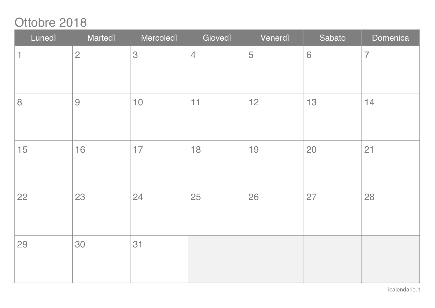 Calendario Di Ottobre.Calendario Ottobre 2018 Da Stampare Icalendario It