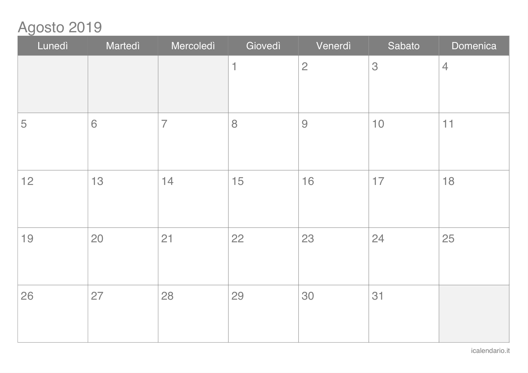 Calendario Mese Agosto.Calendario Agosto 2019 Da Stampare Icalendario It