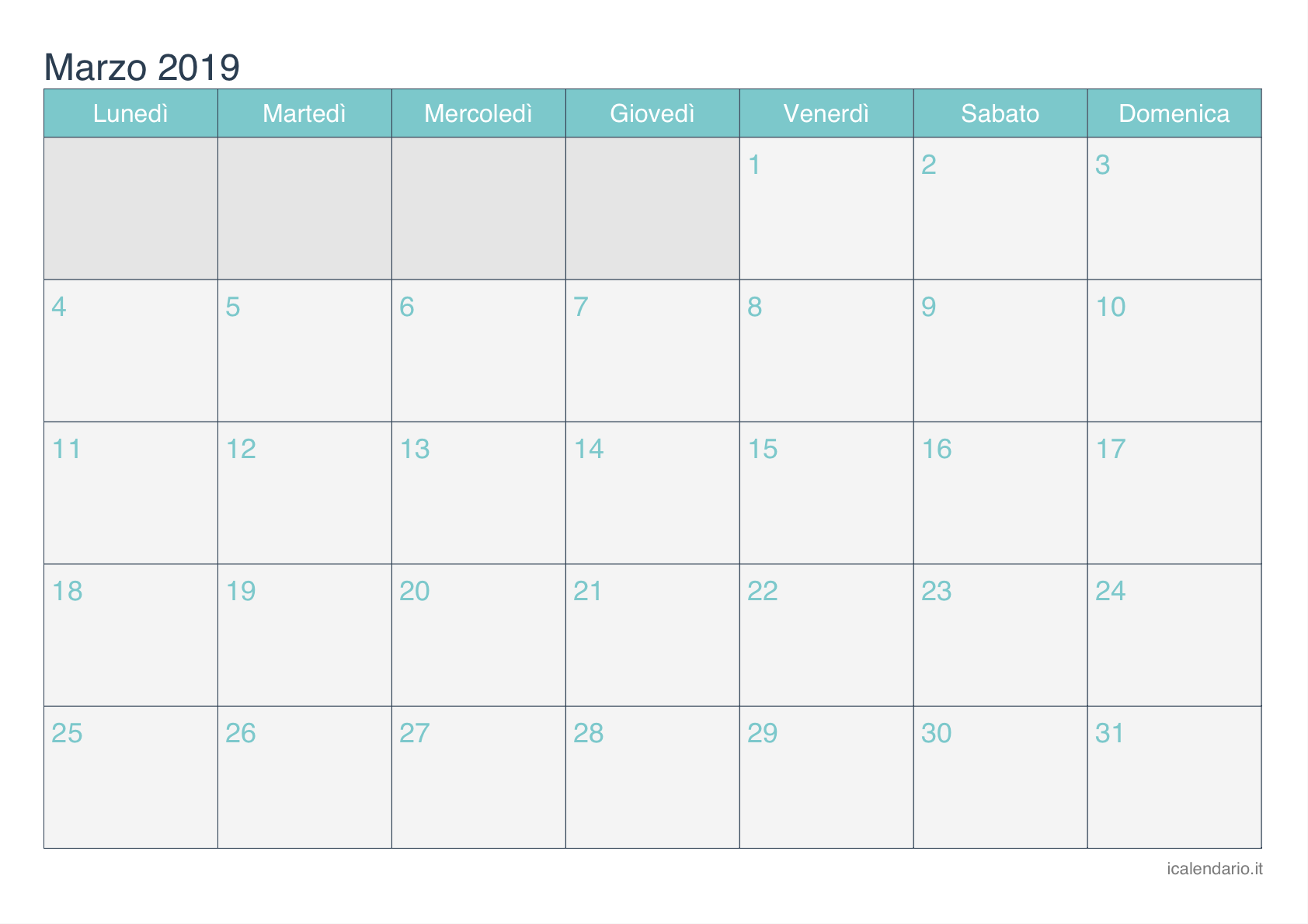 Calendario Di Marzo.Calendario Marzo 2019 Da Stampare Icalendario It