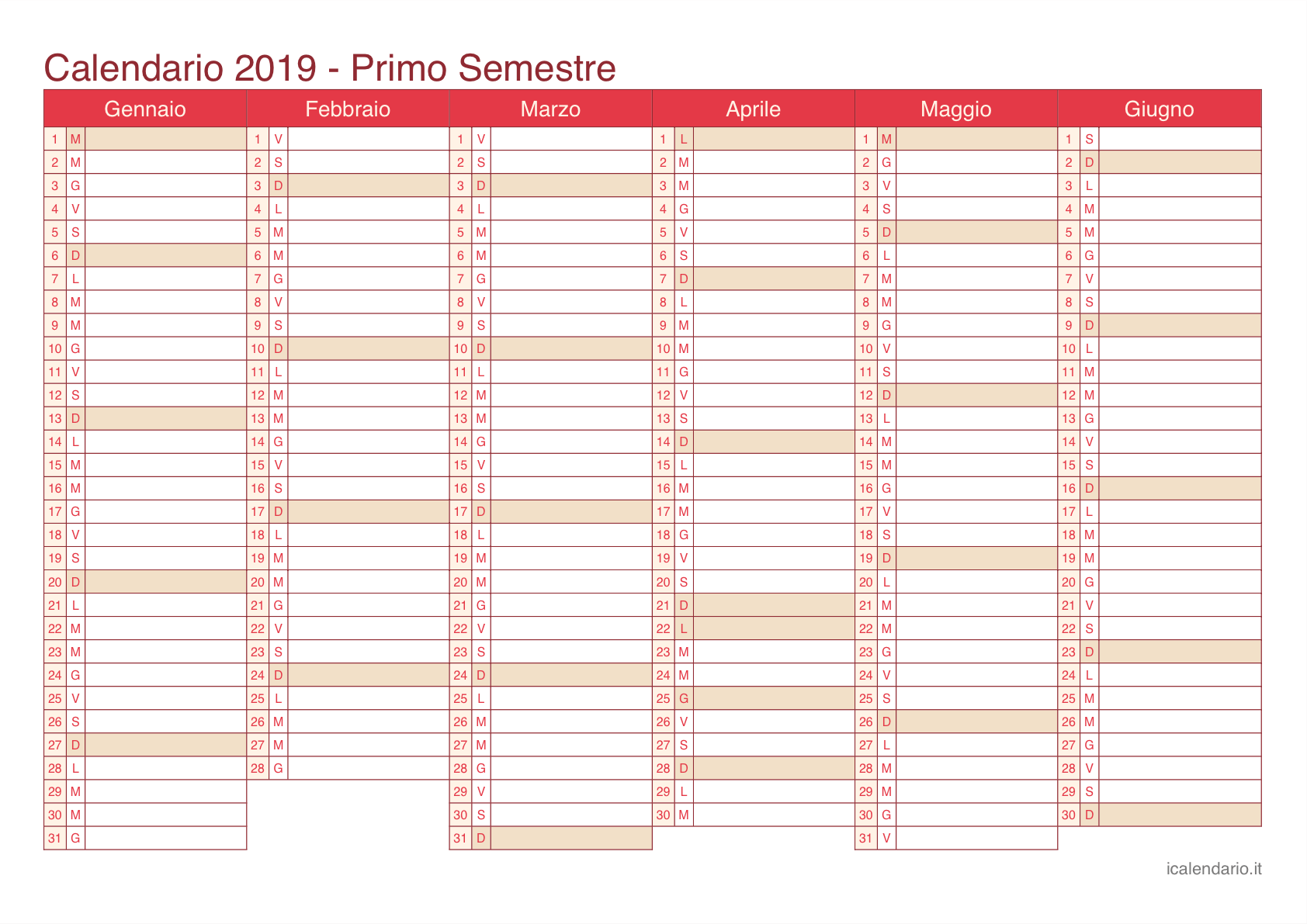 Calendario Anno 2019 Con Festivita.Calendario 2019 Da Stampare Icalendario It